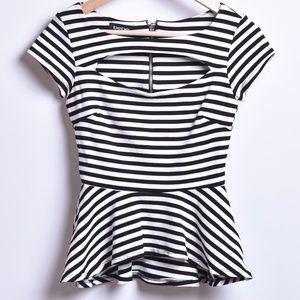 Bebe Striped Peplum Top, Sz XXS